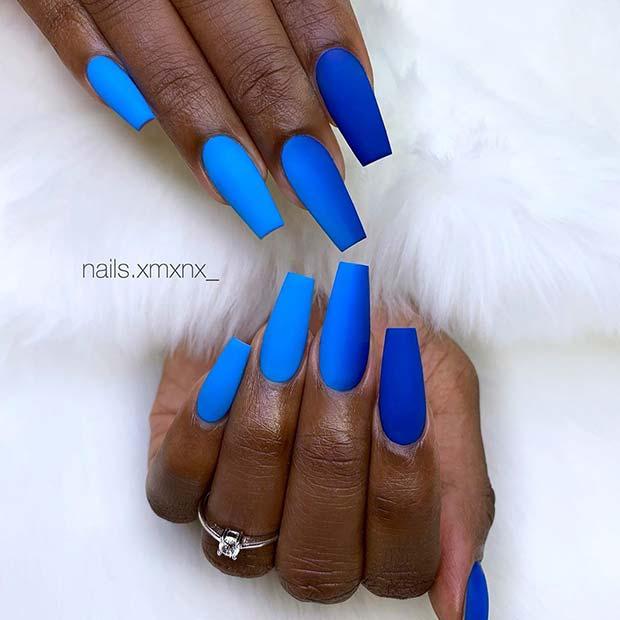 Matte Blue Gradient Nail Design