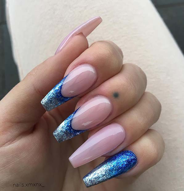Bold Blue Ombre Nails with Blue Tips