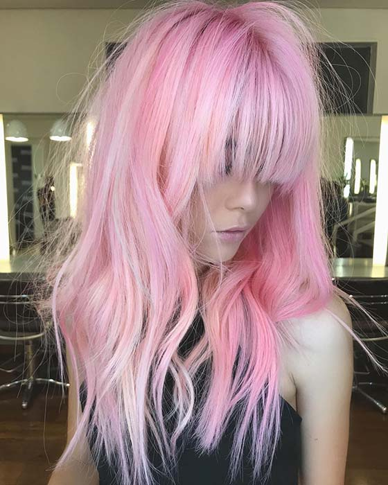 old Light Pink Hair with Bangs
