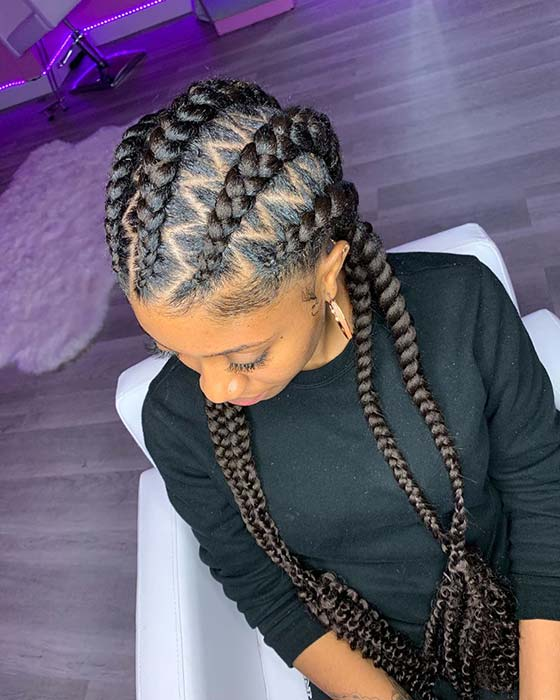 Cornrow Braids with Zig Zag Parts