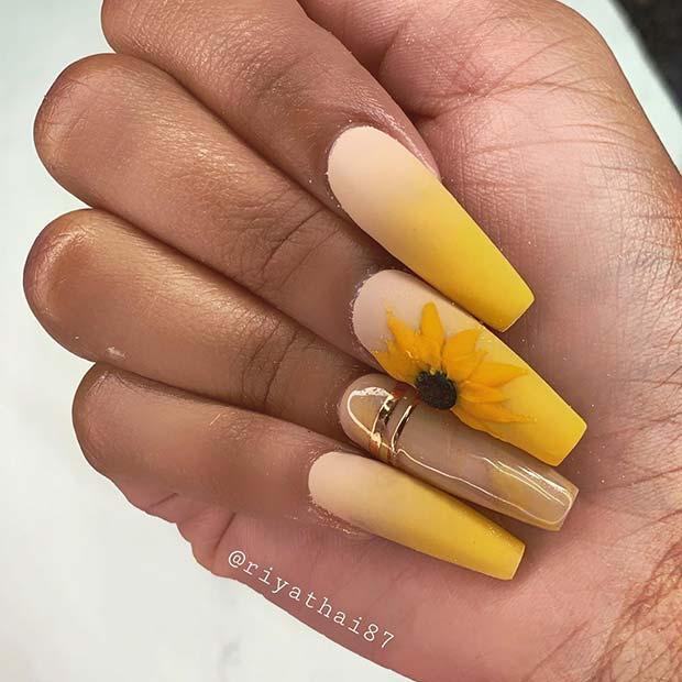 Cute Sunflower Nail Art
