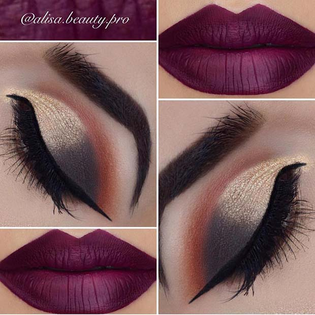 Chic Eye Makeup with Rich, Dark Lip Color