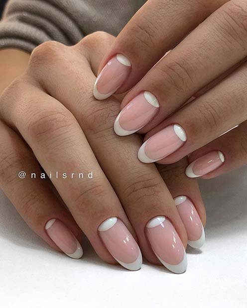 Chic Nude and White Nails