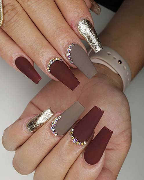 Matte Coffin Nails with Rhinestones