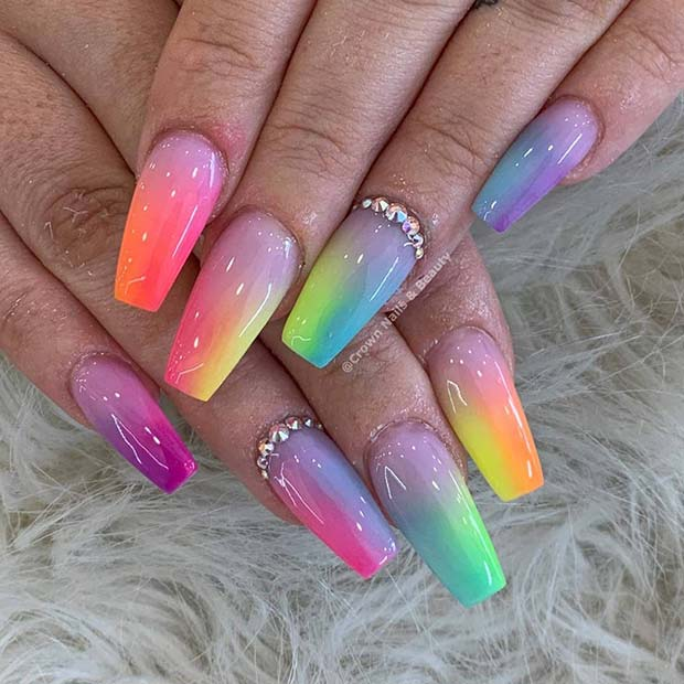 Colorful Gradient Coffin Nails