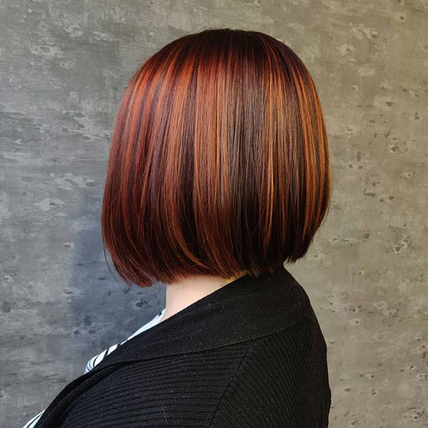 Coppery Highlights for Bob Haircut