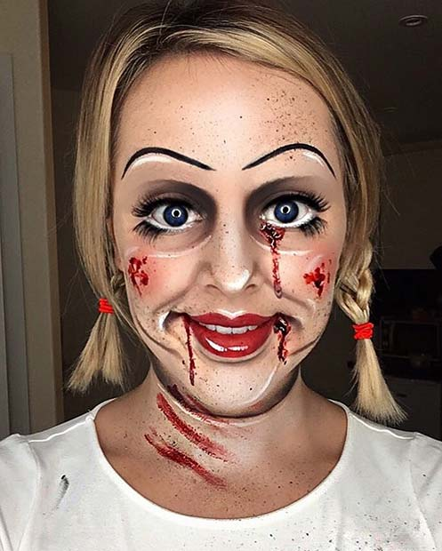 Creepy Doll Makeup with Fake Blood