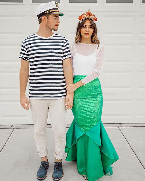 Cute Mermaid and Sailor Couples Costume