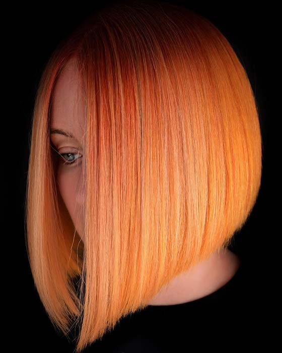 Dark to Pastel Orange Bob