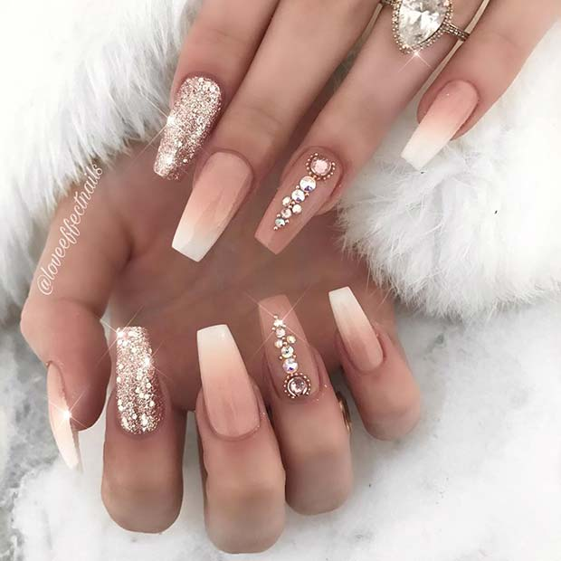 Elegant Coffin Nails with Rhinestones and Glitter