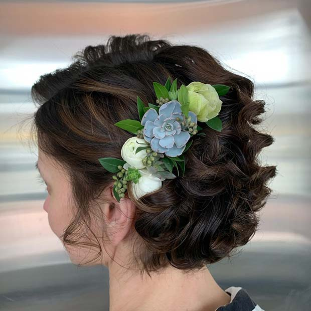 Elegant Short Curly Hairstyle with Flowers