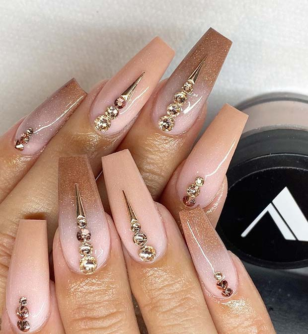 Elegant Nude Nails with Gold