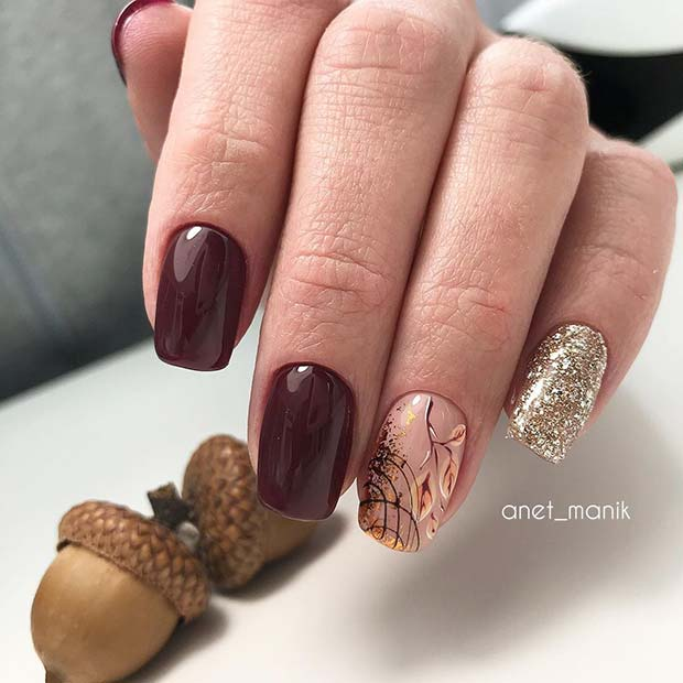 Elegant Shellac Nails with Pretty Nail Art and Glitter