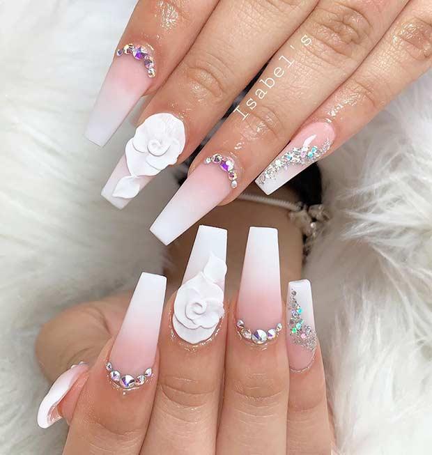 Elegant White Coffin Nails
