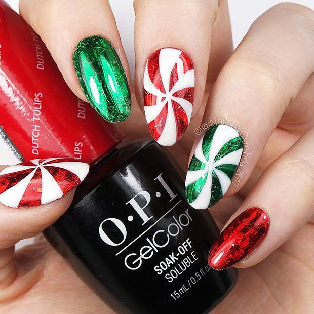 Festive Nails with Candy Art