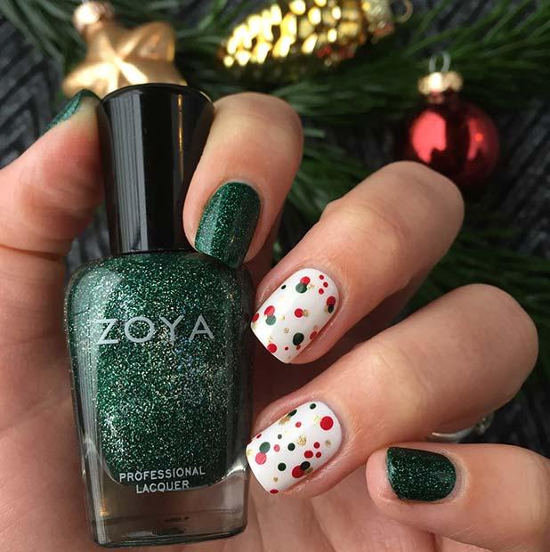 Festive Polka Dot Nails