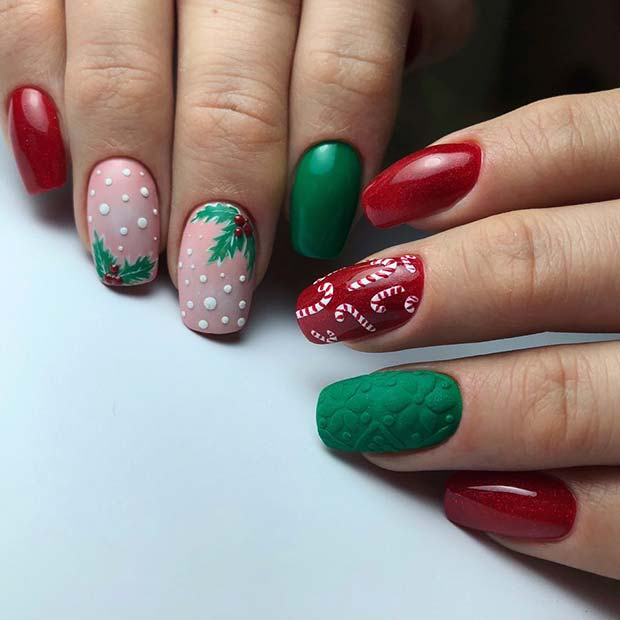 Festive Red and Green Nails with Holly and Candy Canes