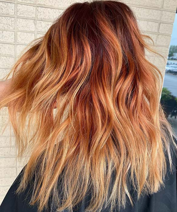 Fiery Orange and Blonde Ombre Hair