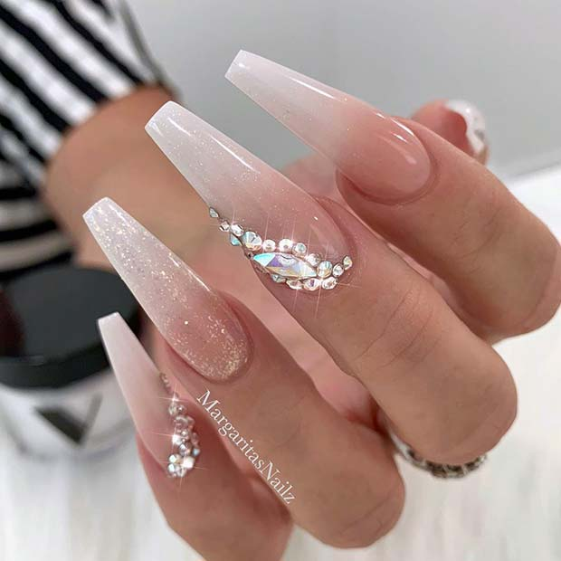 Elegant French Ombre Coffin Nails