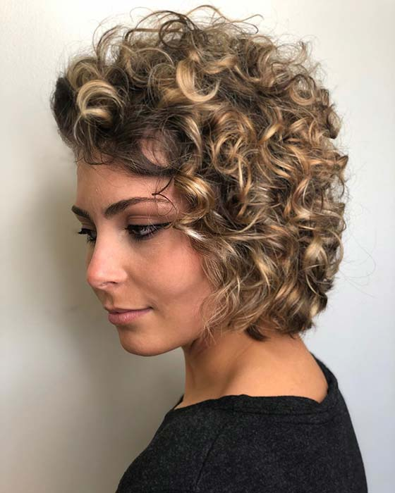 Glam Short Curly Hairstyle