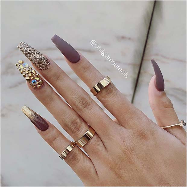 Glam Matte Nails with Glitter and Gems