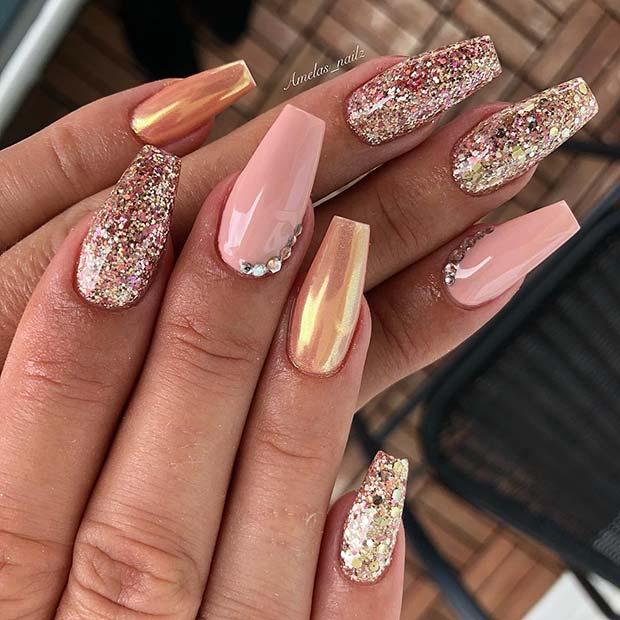 Glam Glitter Nail Designfor Coffin Nails