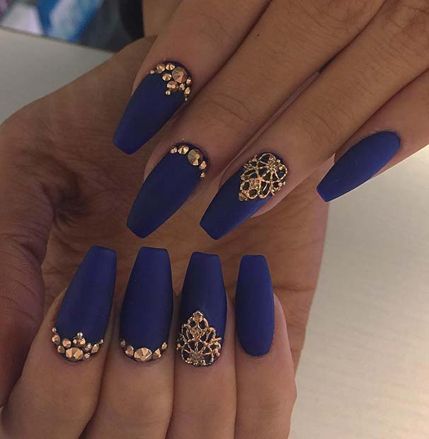 Glamorous Navy Blue and Gold Nail Design