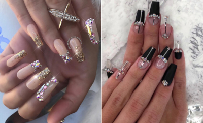 Glitzy Nails with Diamonds We Cant Stop Looking At