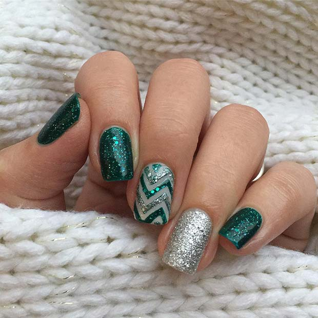 Glitzy and Glam Festive Nails