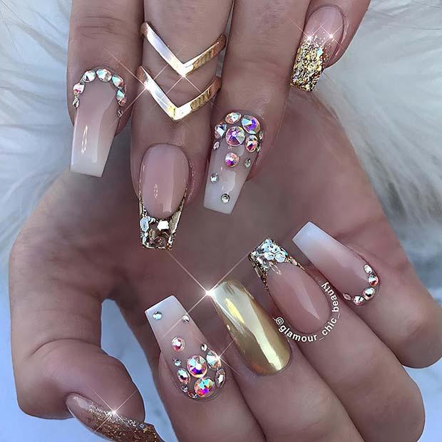 Glitzy and Gold Coffin Nails