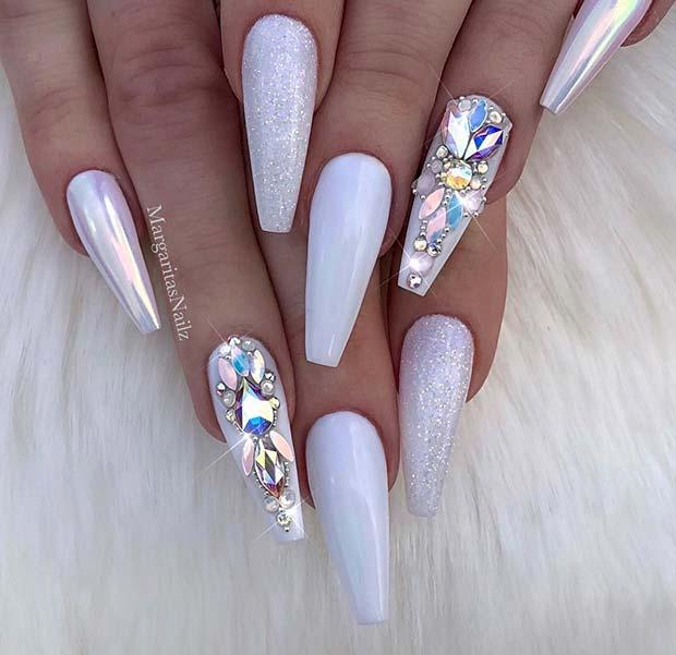 Glitzy and Trendy White Nails