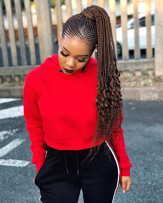 High Braided Ponytail with Curly Ends