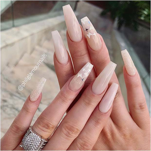 Light Nude Coffin Nails with Silver Butterflies