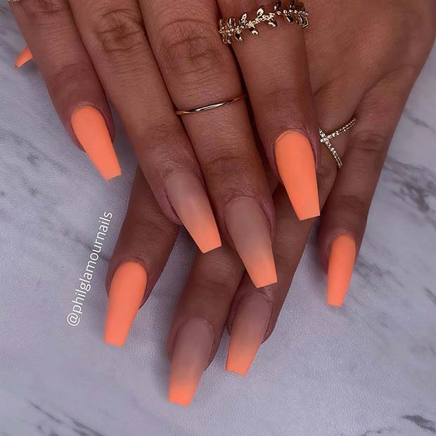 Light Orange Matte and Ombre Nails