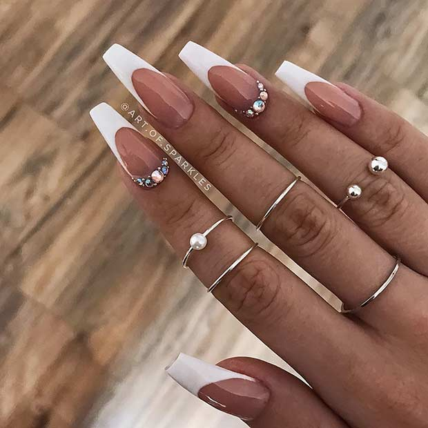 Long Coffin Nails with White Tips