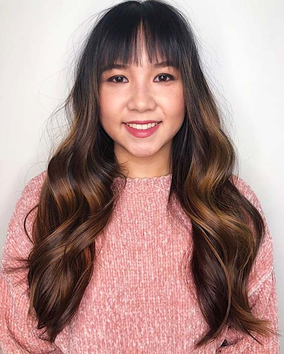 Long Ombre Hair with Bangs