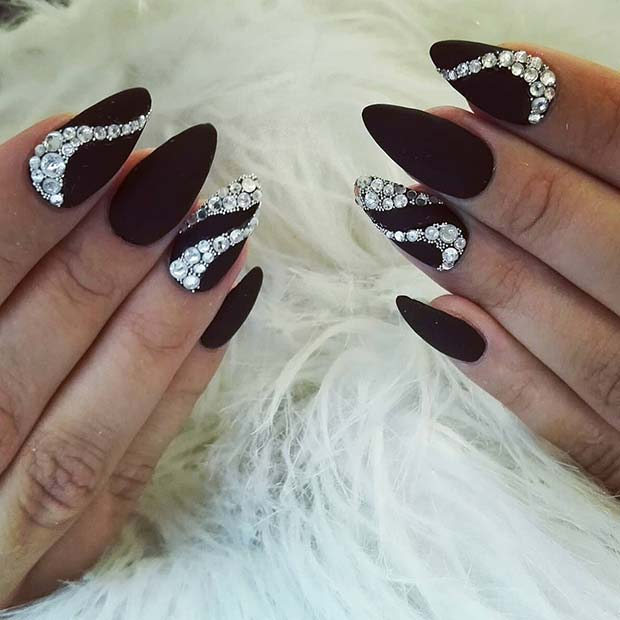 Matte Black Nails with Rhinestones