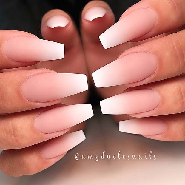 Matte French Ombre Nails