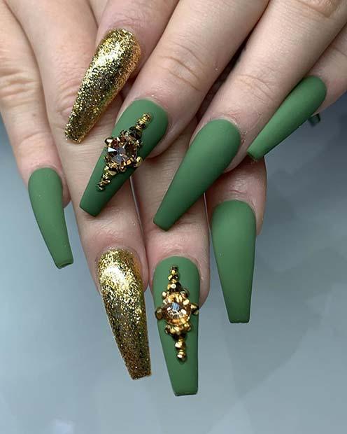 Matte Green Coffin Nails