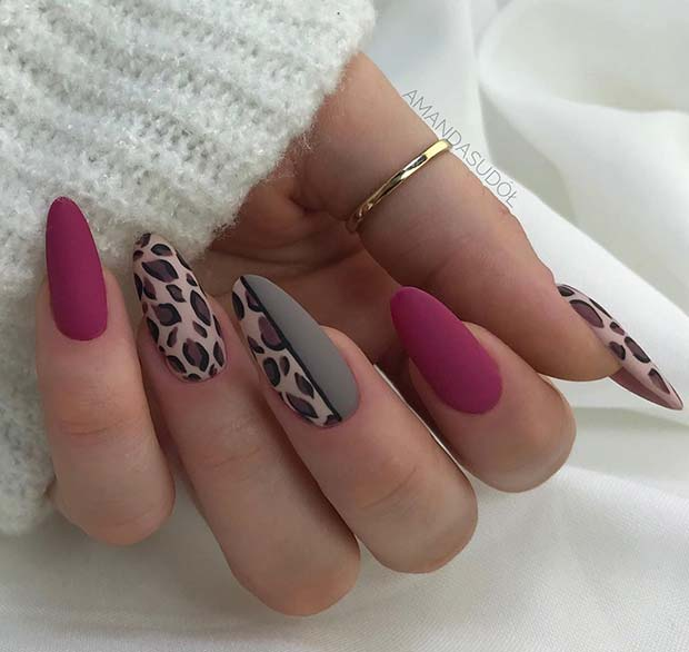 Matte Leopard Print Nails