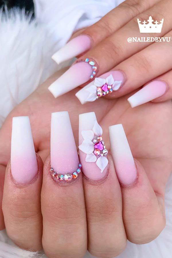 Matte Nails with Floral Accent Nail