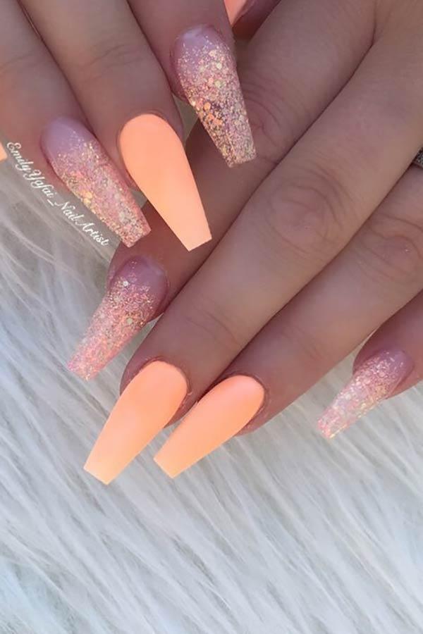 Matte Orange Coffin Nails with Glitter