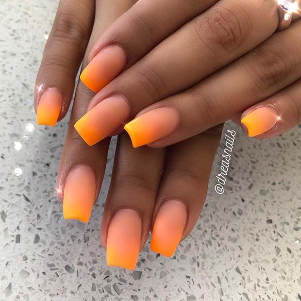 Matte Orange Ombre Nails