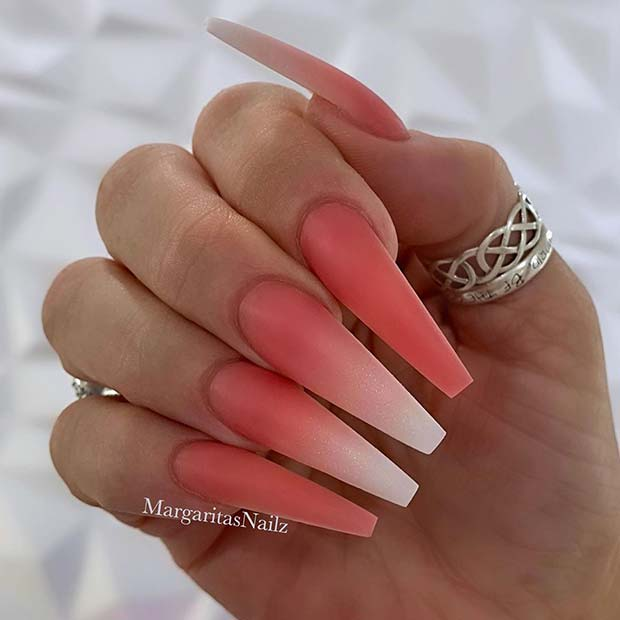 Matte Pink and Ombre Nail Design