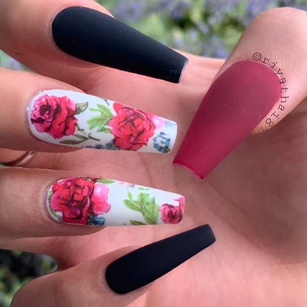 Floral Nail Designfor Coffin Nails