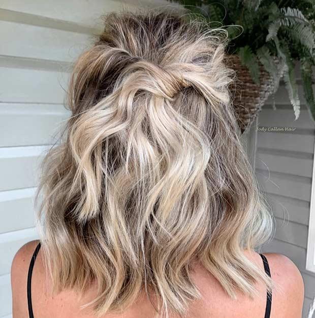 Messy Half Updo for Short Hair