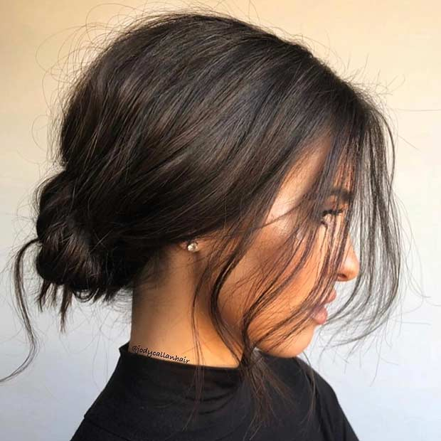 Messy Low Bun Updo for Short Hair