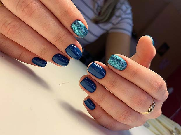 Navy Nails with Blue Glitter