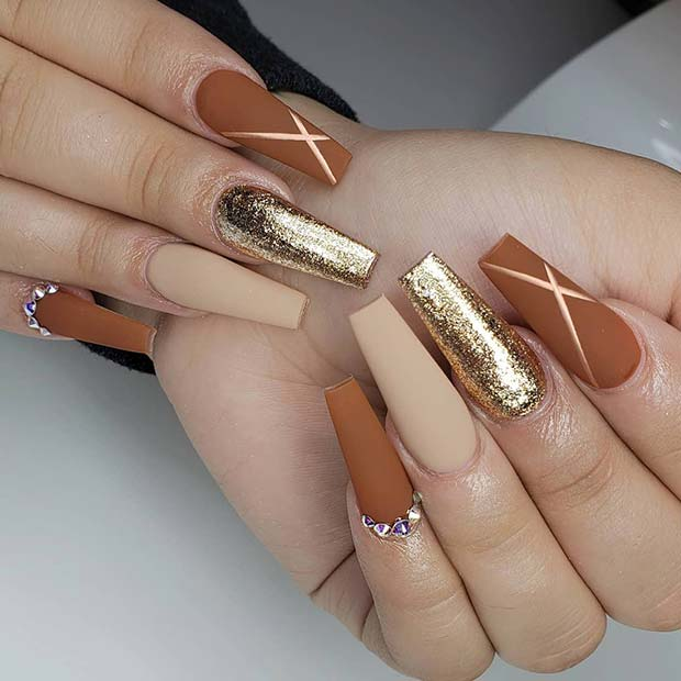 Matte Coffin Nail Design for Fall