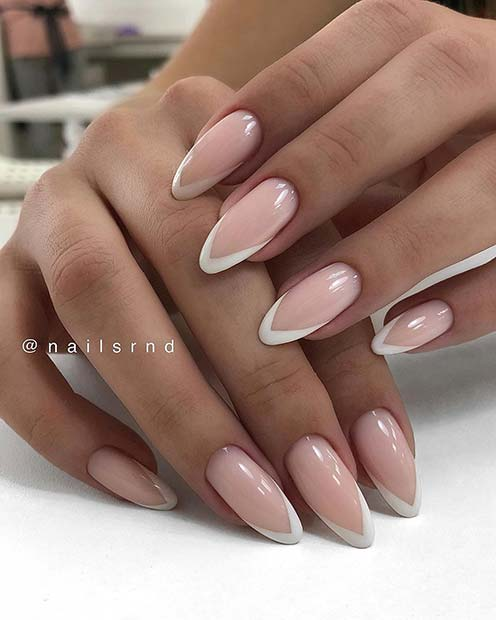 French Tip Almond Nails